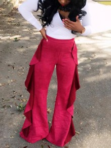 Pink Patchwork Big Wooden Ear High Waisted Wid Leg Casual Long Pants