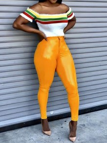 Yellow Buttons PU Leather Vinyl Latex High Waisted Slim Pants