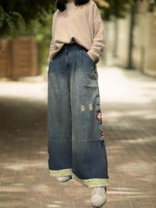 Blue Patchwork Pockets Embroidery High Waisted Fashion Wide Leg Jeans Pant