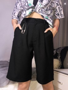 Black Pockets Buttons High Waisted Fashion Straight Five's Pants