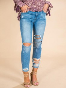 Light Blue Patchwork Cut Out Pockets High Waisted Fashion Jeans Pant