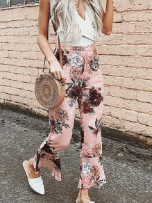 Pink Floral High Waisted Fashion Bell Bottom Long Flare Pants