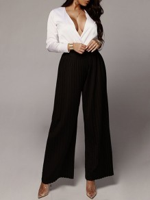 Black Pleated Palazzo Pants High Waisted Wide Leg Casual Long Pants