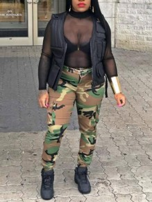 Dark Green Camouflage Pockets Belt High Waisted Haren Cargo Long Pants