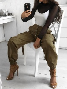 Khaki Pocket High Waisted Boyfriend Fashion Long Pants
