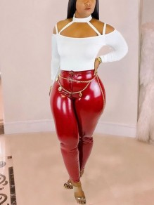 Red Zipper PU Leather Latex Rubber Bodycon Party Long Pant