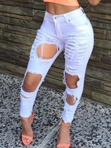 White Ripped Destroyed High Waisted Vintage Long Jean Pants