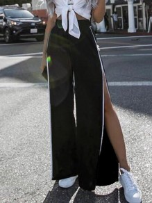 Black Patchwork Irregular Slit Side Elastic Waist Fashion Streetwear Long Pants