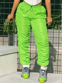 Green High Waisted Drawstring Waist Ruched Push Up Long Pants