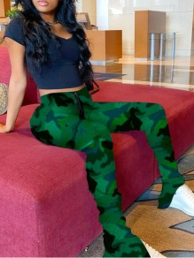 Army Green Camouflage Pattern Drawstring High Waisted Ruched Flare Bell Bottom Long Pants