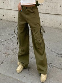 Army Green Pocket Drawstring High Waisted Wide Leg Long Pants