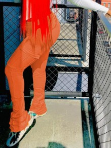 Orange Pockets Pleated Ruched Flare Bell Bottom Sports Long Pants