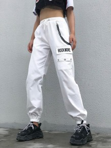 """White """"ROCK MORE"""" Print Pockets Drawstring Waist With Chain Long Cargo Pants"""