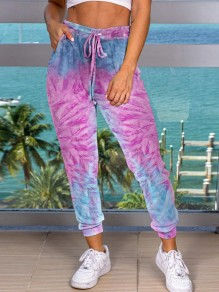 Purple Tie Dyeing Drawstring Pockets High Waisted Harem Casual Sports Long Pant