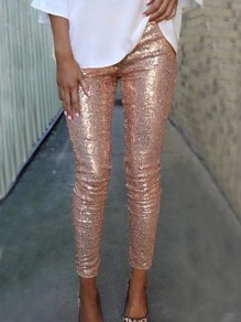 Rose Golden Sequin Sparkly High Waisted Fashion Long Pants