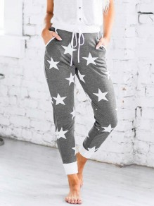 Grey Stars Print Drawstring Pockets Casual Long Pajama Pants