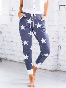 Blue Stars Print Drawstring Pockets High Waisted Long Pants