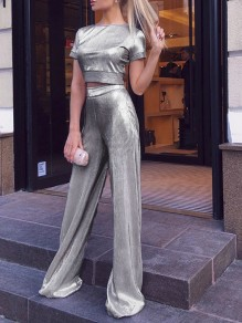 Silver High Waisted Glitter Sparkly Birthday Party Long Wide Leg Palazzo Pants