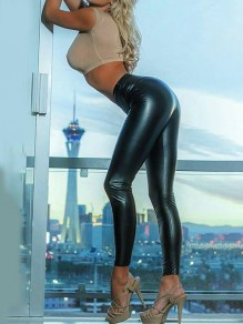 Black Vinyl PU Leather High Waisted Big Booty Skinny Hot Long Pants