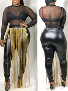 Black PU Leather Vinyl Patchwork Tassel High Waisted Skinny Party Long Pants