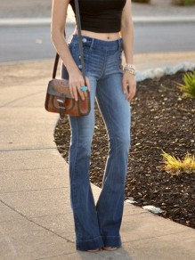 Dark Blue High Waisted Elastic Waist Flare Bell Bottom Long Jean Pants