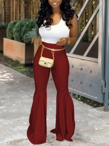 Burgundy PU Leather Vinyl High Waisted Big Flare Bell Bottom Long Pants