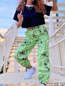 Green Newspaper Print Pockets High Waisted Long Harem Cargo Pants