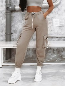 Grey Pocket Drawstring High Waisted Fashion Long Pants