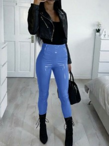 Blue PU Leather Sparkly High Waisted Fashion Long Pants