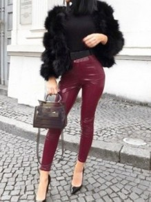 Wine Red PU Leather Sparkly High Waisted Fashion Long Pants