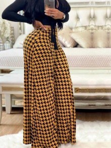 Yellow-Black Houndstooth Pattern High Waisted Retro Wide Leg Long Pants