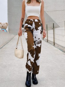 Brown Camouflage Dalmatian Cow Print Elastic High Waisted Haren Cargo Long Pants