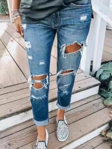 Dark Blue Pocket Ripped Destroyed High Waisted Vintage Long Jean Pants
