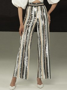 Apricot Striped Sequin Print High Waisted Glitter Sparkly Wide Leg Palazzo Long Pants