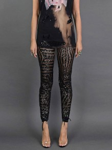 Black Patchwork Sequin Grenadine Skinny High Waisted Glitter Sparkly Long Pants