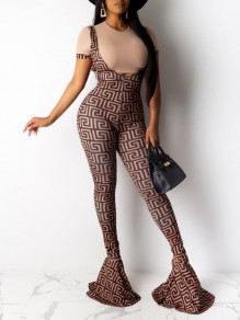 Brown-Black Geometric Pattern High Waisted Flare Bell Bottom Long Overall Pants