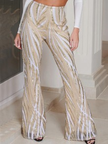 Apricot Geometric Sequin NYE Sparkly High Waisted Flare Bell Bottom Long Pants