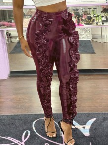 Burgundy Patchwork Ruffle High Waisted Skinny Vinyl PU Leather Long Pants