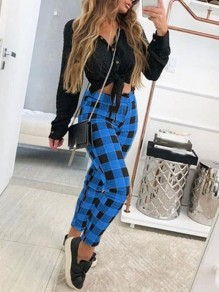 Blue Black Plaid Print High Waisted Fashion Long Pants