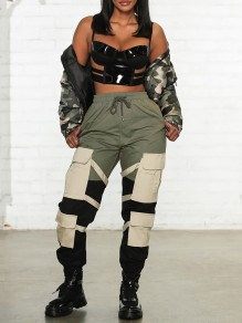 Army Green Hit Color Pockets High Waisted Elastic Waist Casual Cargo Hip Hop Long Pants