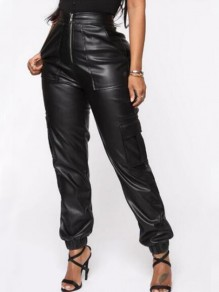 Black Pockets Zipper High Waisted PU Leather Cargo Haren Long Pants