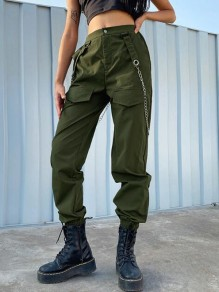 Army Green Pockets Chain High Waisted Haren Cargo Long Pants