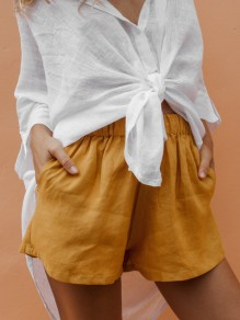 Yellow Pockets High Waisted Fashion Going out Shorts