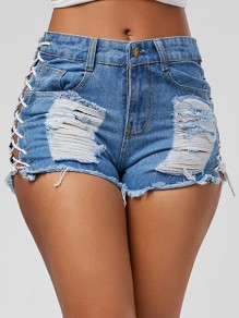 White Pockets Lace up Distressed High Waist Going out Denim Ripped Jeans Short Pants