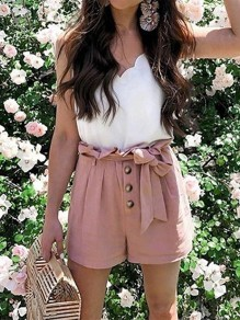 Pink Patchwork Belt Pockets High Waisted Fashion Shorts Pant