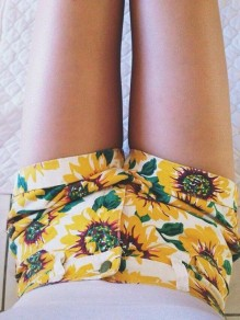 White-Yellow Sunflower Print Pockets Buttons High Waisted Cute Short Jeans