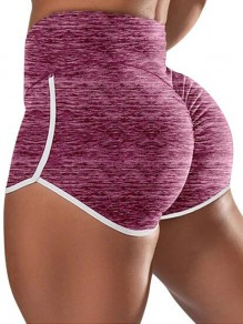 Red Pleated Push Up High Waisted Plus Size Yoga Sports Shorts