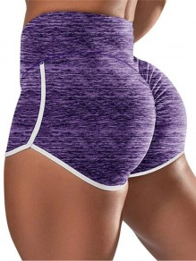 Purple Pleated Push Up High Waisted Plus Size Yoga Sports Shorts