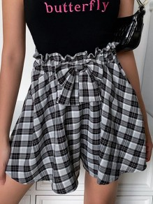 Black Plaid Bow Ruffle High Waisted Fashion Retro Homecoming Party Shorts