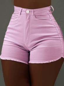 Pink Pockets Buttons Ripped Destroyed Push Up High Waisted Short Jeans